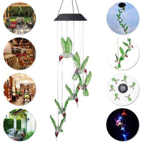 Farbwechsel LED Solar Powered Kolibri Wind Chime Licht Hof Garten-Dekor