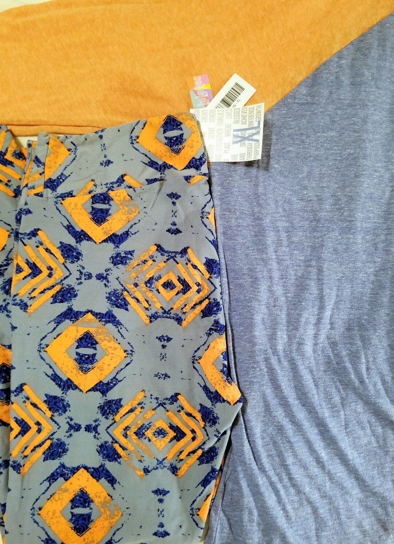 New LuLaRoe tribal geometric aztec bluee  orange TC Leggings, Randy XL Outfit