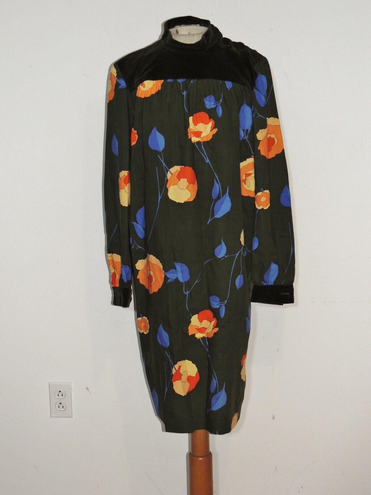Vintage 1960's Emilio PUCCI Velvet / Wool Challis Floral Print MOD Dress MED 12