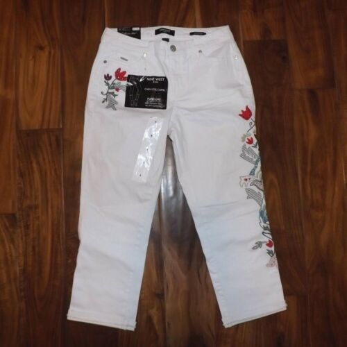 NWT Womens NINE WEST JEANS White Chrysti Embroidered Floral Capris Size 4