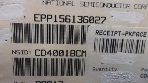 CD4001BCM CD4001 REPLACES MC14001BD NOR GATE 14-PIN SOIC 10 PER LOT