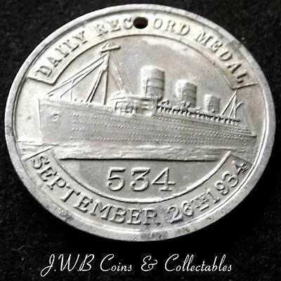 Daily record medal 534 1934 aluminium medal RMS Queen Mary
