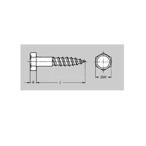 Holzschrauben Schlüsselschrauben Schrauben 25 50 100 Sechskant 8 10 DIN571 Dübel