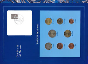 Coin-Sets-of-All-Nations-France-w-card-EURO-1999-2001-UNC-1-2-Euro-2001