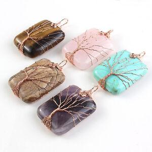 Rose Gold Wire Wrap Amethyst Rose Quartz Gem Tree Of Life Chakra