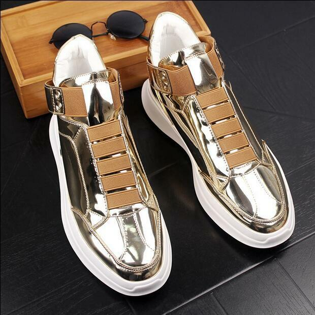 Mens Patent Leather Breathable Casual Sport shoes outdoor Sneakers Athletic New