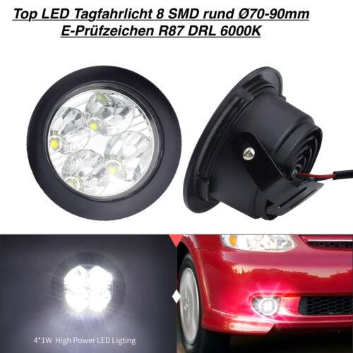LED Tagfahrlicht 8 SMD Rund Ø70-90mm E4-Prüfzeichen DRL 6000K Opel