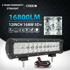 "12""inch 168W CREE 5D LED Work Light Bar Flood Spot Offroad SUV UTE ATV 4x4WD 14"""