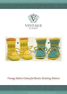 Vintage Visage repro knitting pattern-cute, sweet bright baby bootees pattern