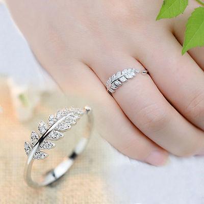 New Design Women Jewelry Silver Olive Leaf Vintage Adjustable Rings Gift