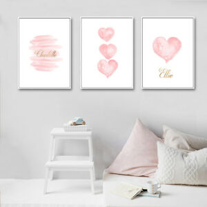 Details About Gt Nordic Pink Heart Letters Wall Painting Picture Kids Nursery Room Decor Eyef