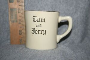 TOM-AND-JERRY-CUP-MUG-3-INCHES-VINTAGE-CHRISTMAS-NEW-YEARS-BEIGE-SILVER-RIM