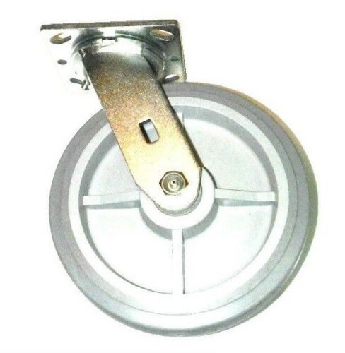 """Swivel Plate Caster and Soft Flat Tread Rubber 8/"""" Non-Marking Wheel Clearance"""