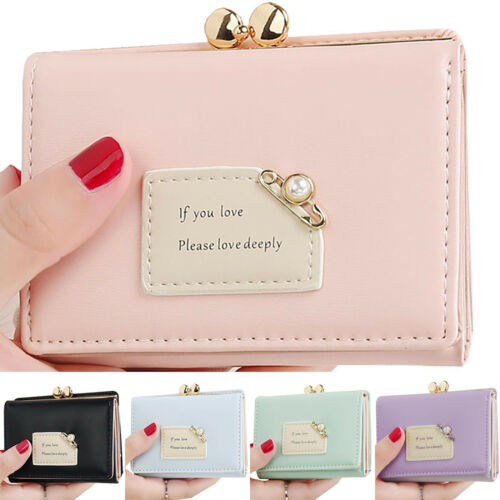 Womens Gilrs Short Small Money Purse Wallet PU Leather Folding Coin Card Holder