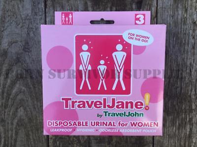 TravelJane Resealable Disposable Portable Urinal 3 Pack by TravelJohn FESTIVAL
