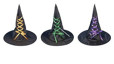 NEW ADULT HALLOWEEN WITCH HAT WITH RIBBON ORANGE FANCY DRESS WITCHES FREE POST