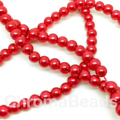 230+ pearl beads red 3mm Glass faux Pearls strand Scarlet jewellery making