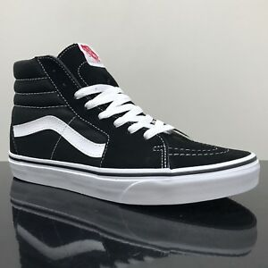 10a93b6e337 Image is loading VANS-SK8-HI-BLACK-amp-WHITE-TRAINERS