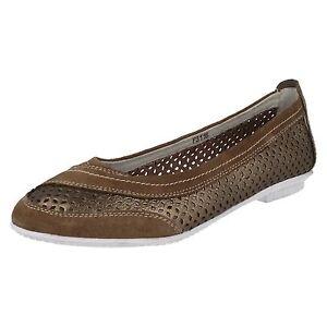 OFERTA-Eaze-F3116-bronce-de-las-senoras-piel-SIN-CIERRES-Bailarina-Zapatos