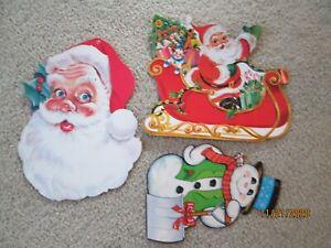 VINTAGE-Santa-Claus-SLED-cardboard-DIECUT-cut-outs-CHRISTMAS-decor-SNOWMAN-Tree