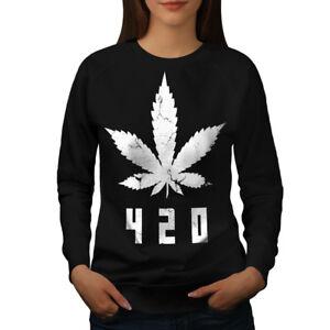 Wellcoda-White-Cannabis-Leaf-Womens-Sweatshirt-Weed-Casual-Pullover-Jumper