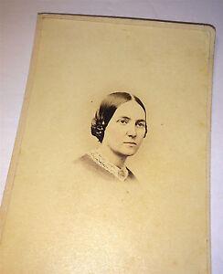 Antique-Civil-War-Era-Tinted-Victorian-Fashion-American-Lady-Old-MD-CDV-Photo