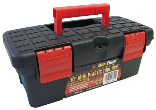 """Am-Tech 10/"""" Mini Small Plastic Tool Box With Removable Tray Brand NEW"""