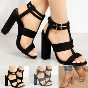 db70e0065313 New Women s Block High Heels Buckle Ankle Strap Open Toe Party ...
