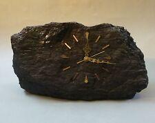 Unikat Uhr aus Kohle Steinkohle Bergmann Bergbau Batteriewerk groß 39 cm breit