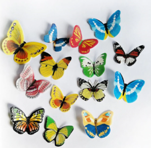 42pcs Mixed Butterfly flowers Edible Glutinous Wafer Rice Paper Cake Cupcake Top