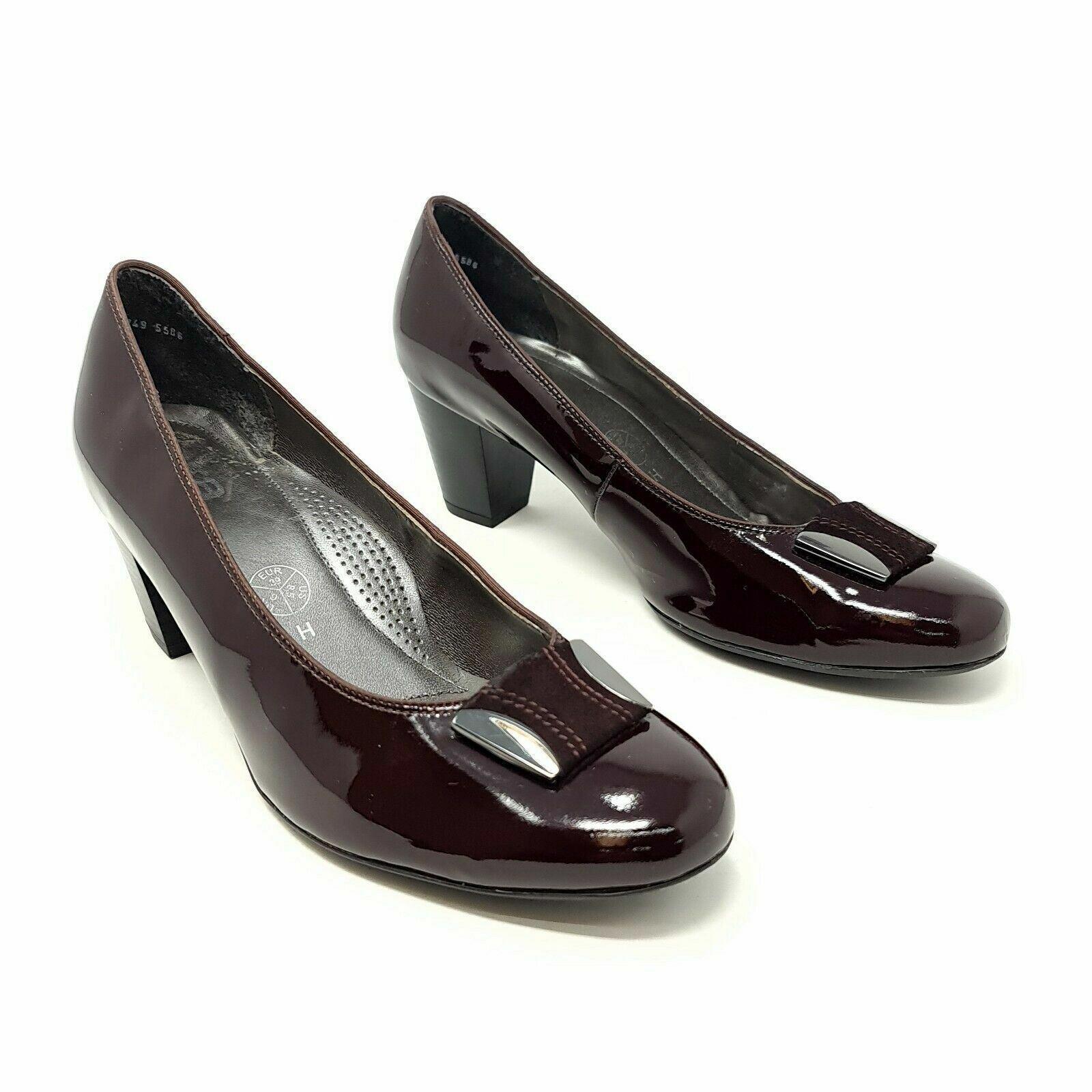 Ara Dark Purple Patent Heels Shoes UK 6 H EU 39