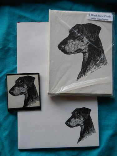 Doberman Pinscher Uncropped Ears 3 Piece Set-Notepad,6 Blank Notes and Magnet