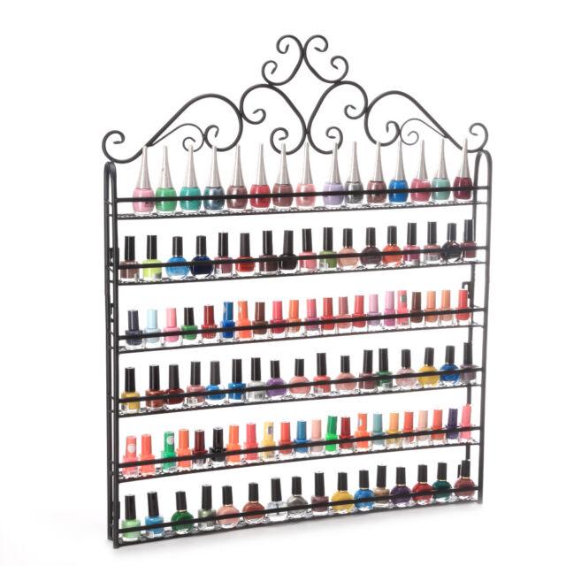 Nail Polish Display Wall Rack Metal Shelf Organizer Fit up to 120 ...