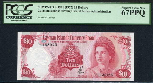 Cayman Islands 1971 ( 1972 ), 10 Dollars,P3,PCGS 67 PPQ  GEM UNC