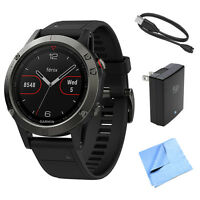 Garmin Fenix 5 Multisport 47mm Gps Watch W/ Black Band + Accessories Bundle on sale