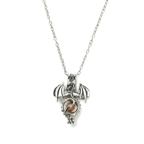 Mode Liebe Drachen Süßwasserperle Perle Käfig Medaillonanhänger Halskette Unisex