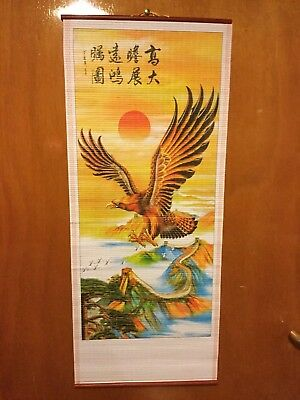 DOVES AND FLOWERS CHINESE WALL HANGNG SCROLL FREE UK P/&P UK SELLER