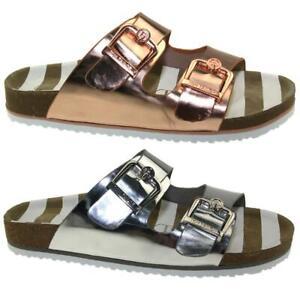 Tom Tailor Damen Pantolette Sandale 4893404 Lederfussbett Metallic Gr.37-43