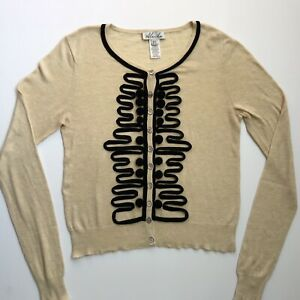 Aleida-Womens-Button-Up-Cashmere-Cardigan-Cream-Black-Silk-Trimmings-Size-12