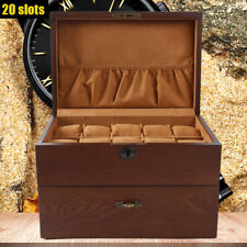 20 Slots Watch Box Retro Wooden 2 Layer Jewelry Storage Display Case With Lock