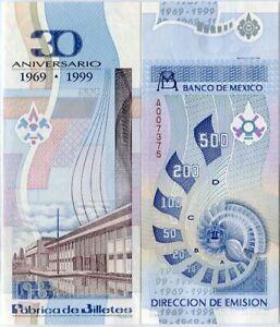 MEXICO-TEST-NOTE-FABRICA-DE-BILLETES-FACTORY-30th-ANNIV-1969-1999-COMM-UNC