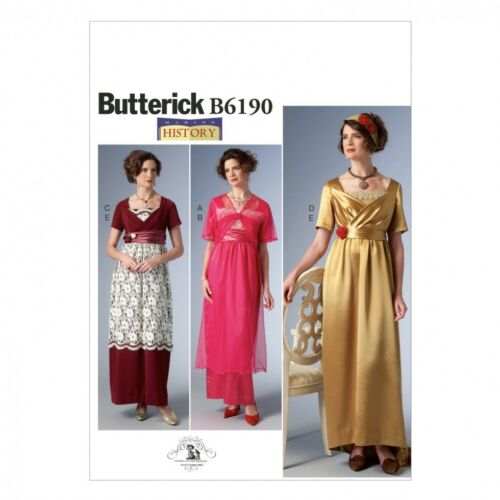 Butterick Ladies Sewing Pattern 6190 Empire Waist Dress /& Jacket Vintage ...