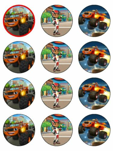 24 BLAZE /& THE MACHINE Edible Cupcake Toppers Wafer Paper Birthday Decorations
