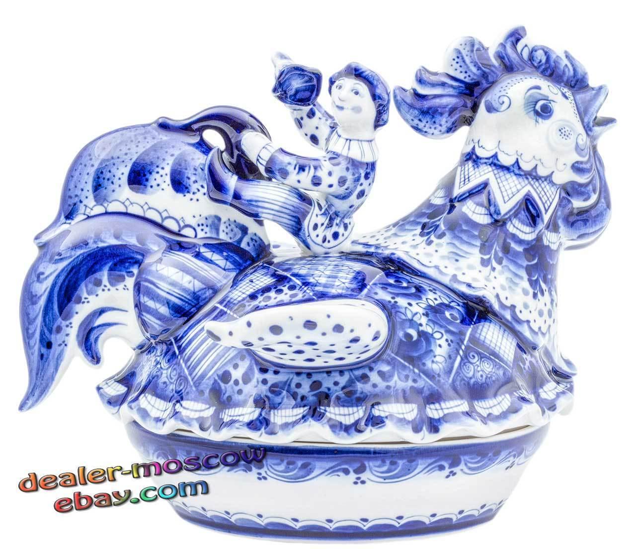 Russe porcelaine auteur Gzhel peint à la main Ware BUTTERDISH bouffons