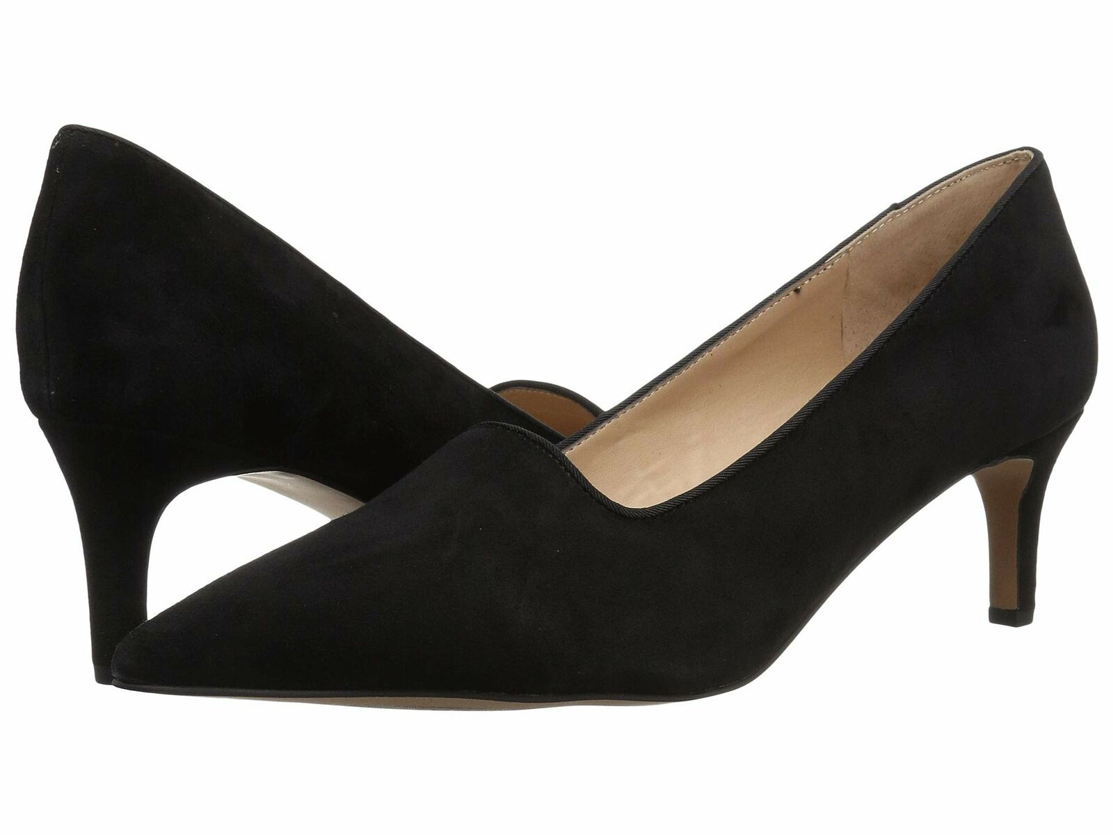Franco Sarto US 7.5 EU 37.5 Womens Danelly Black Slip On Heels shoes Flats New