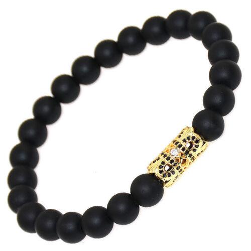 Luxury Men/'s Micro Pave Zircone cubique BOULE COURONNE Charm Bracelets Mat Agate Bead Jewelry