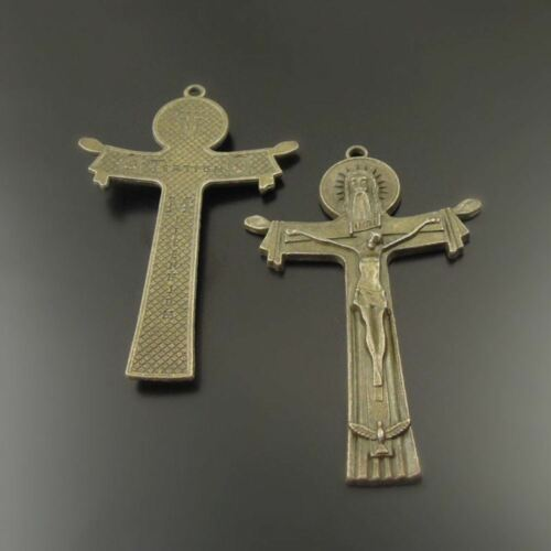 4pcs Antique Bronze Alloy Jesus Cross Charms Pendants Jewellery Findings 74x49mm