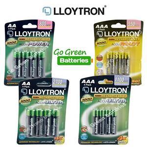 LLOYTRON AA 800-2700 mAh AAA 550-1100 mAh RECHARGEABLE BATTERIES PRECHARGED NiMH