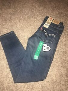 f02c5d7a7c4 Levi s 710 Girls Regular Ankle Super SKINNY Jeans Adj. Waist Sz. 8 Blue  Denim