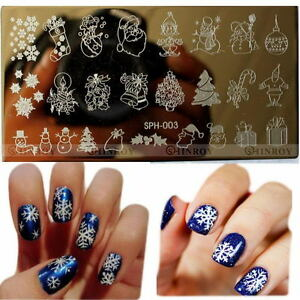 Christmas easy diy nail art image stamp stamping plates manicure image is loading christmas easy diy nail art image stamp stamping prinsesfo Choice Image